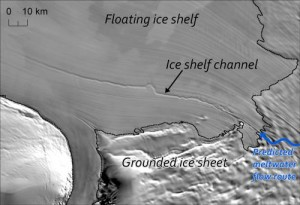Antarctic Ice Sheet Rests Over Meltwater Streams